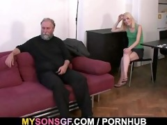 daddy punishes his gf and receives caught by son