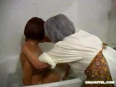 granny bathing younger lady