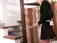 french maid hard drilled in 9some with papy
