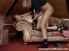 old granny rides younger cock