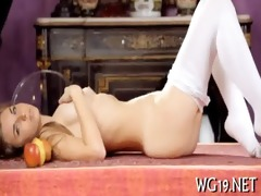chick plays with sex-toy