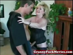 insane blonde granny with younger boy