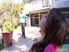 daughter sunbathing