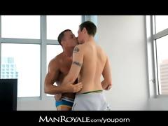 manroyale hawt guy massages a bodybuilders rod