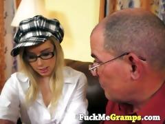 slutty older man seduces blond cutie