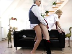 blond schoolgirl pleasant his old nob