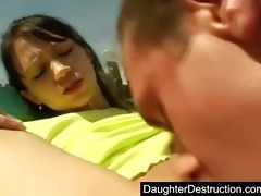 cute juvenile teen daughter drilled hard