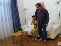 shy juvenile hotty drilled by old guy