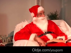 bawdy santa gives wicked teenie a hard spank and