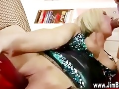golden-haired in nylons receives off with sextoy