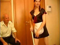 seductive dark brown maid gets rammed by old fart
