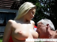 juvenile breasty gal screwed by an old plump lad