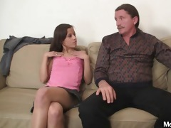 horny gf jumps on her bfs dad knob