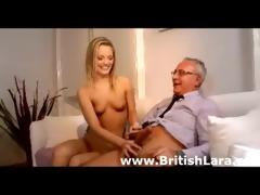 cute youthful blond honey copulates aged british