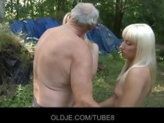 old woodcutter copulates horny blondes
