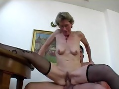 saggy aged with glasses enjoys younger cocks