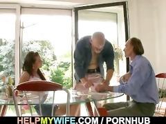 a chap is invited to gangbang olds stud hot wife
