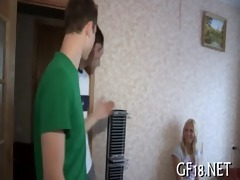delightful legal age teenager gal stands doggy