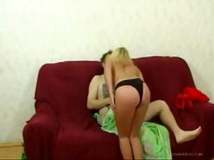 lascivious blond russian daughter drilled her own