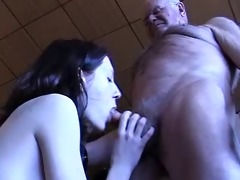 grandad gets a oral stimulation
