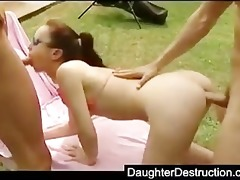cute legal age teenager daughter drilled hard