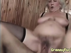 real excited granny copulates younger stud