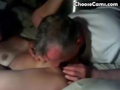 older man giving grandma great oral-stimulation