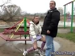 granddad with juvenile angel outdoor