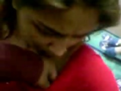 desi girl in red saree strip and bj