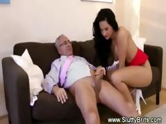 old man receiving head by youthful hottie