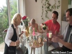 three-some with his gf and parents
