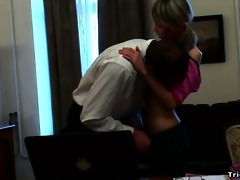 cute slender blond rides her lustful teacher like