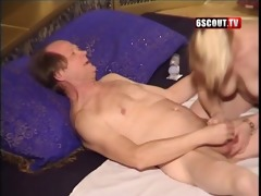 youthful golden-haired give blowjob