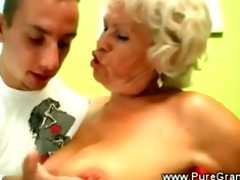 perverted granny blows younger knob